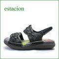 estacion  エスタシオン  et690bl ブラック 【可愛いメッシュしましょ。ふわふわクッションの・・ エスタシオン ぺたんこサンダル】