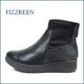 fizz reen フィズリーン ショートブーツ fr2136bl  ブラック 【大人可愛いスタイルにマッチする・・・シックなトリプル素材・・ FIZZREEN ストレッチ・ショートブーツ】