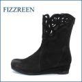 FIZZ REEN  フィズリーン fr2801  ブラック 【可愛さ 満点。。。新鮮・上品 おしゃれな・・・ fizzreen パンチドゥ・フラワー・ブーツ】