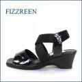 fizz reen フィズリーン fr5321bl ブラック 【上品スッキリのシンプルデザイン・・FIZZREEN・・・・ゴムゴムFITの・ウェッジサンダル】