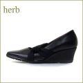 HERB  ハーブ hb1130bl ブラック 【足にぴったりフィットする ソフトレザーのスクウェア・パンプス】