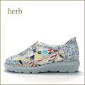 herb   ハーブ  hb13140iv  アイボリー 【ウキウキ度アップ・・ 可愛いお花のししゅう。。herb靴・・センターゴア スリッポン】
