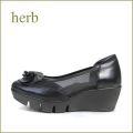 herb靴 ハーブ hb1611bl ブラック 【かわいいお花コロコロカメリア・・独自開発・新型ソール!! herb靴・・ 履きやすい チュールパンプス】