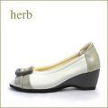 herb靴  ハーブ  hb9701gy  ライトグレイ 【かわいい大きめバックル・・ 履きやすい柔らか仕立て・・ herb靴・ ウェッジソールのオープントゥ】