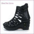 hina day green ヒナデイグリン hi4390bl ブラック 【可愛いボリューム・・安心のふわふわクッション・・ hina  グラディエーターサンダル】