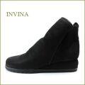 invina  インビナ靴  iv9803bl  ブラック 【スポッ と履ける巾広4E・・撥水加工で汚れにくい・・invina  シンプルで可愛いショートブーツ】