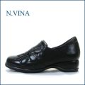nvina エヌビナ nv1895bl  ブラック  【可愛い大きめお花・・スポット履けるゴムゴム。。nvina  カカトパッドが優しいスリッポン】