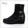 put's プッツ pt2114bl  ブラック  【異素材。。ストレッチサテンとソフトレザー・・・上品度アップの。。put's靴。。ウェッジソール・ショート】