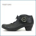 vigevano  ビジェバノ vg7558bl ブラック 【靴職人手作りの1足・・綺麗にすっきりフラワーカット・・ vigevano ベルトパンプス】