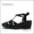 vitanova   ビタノバ  vt9625bl  ブラック 【柔らかソールで快適・・すっきりエナメル素材。。vitanova サンダル】