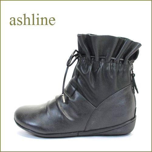 ashline アシュライン as3612bl ブラック 【可愛いまん丸トゥ・・きんちゃく デザイン・・ashline・・ほっとする履き心地・・ 】