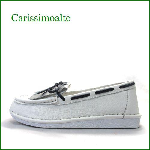 カリシモアルテ carissimo alte cs2601wt ホワイト 【包む感じでドンドン歩こう**軽い可愛い carissimo alte キルトリボンのスリッポン】