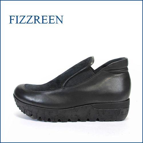 fizz reen フィズリーン fr1449bl  ブラック 【ウェーブアーチでリラックス・・独自開発インソール・・・FIZZREEN・・ちょびっと深めの厚底スリッポン】