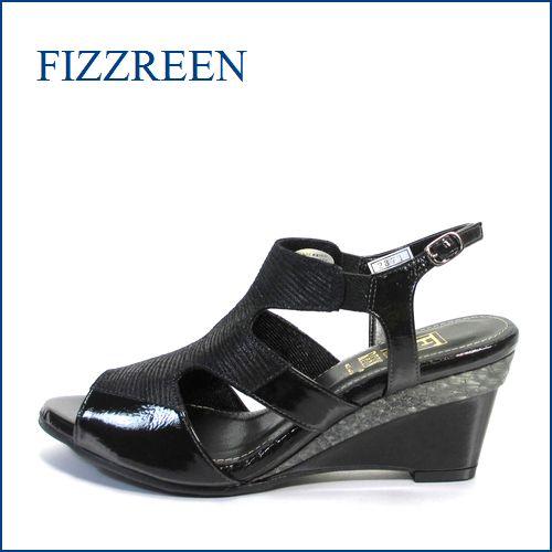 fizz reen フィズリーン fr2371bl ブラック 【新鮮 2段ウェッジソール・・FIZZREEN・・・・上品スッキリ・サンダル】