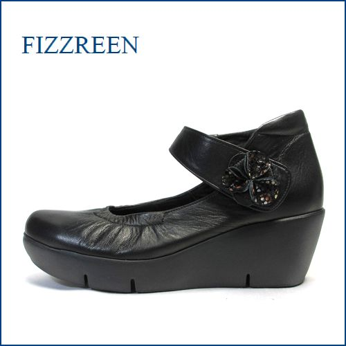フィズリーン fizz reen  fr3731bl ブラック 【今すぐ馴染むソフトなレザー!すっぽり包み込む・・ fizzreen  厚底ベルトパンプス】