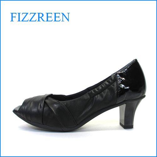 fizzreen  フィズリーン  fr7048bl  ブラック 【指が出すぎず ぴったり FIT・ちょびっとオープントゥの・fizzreen・ クッションパンプス】