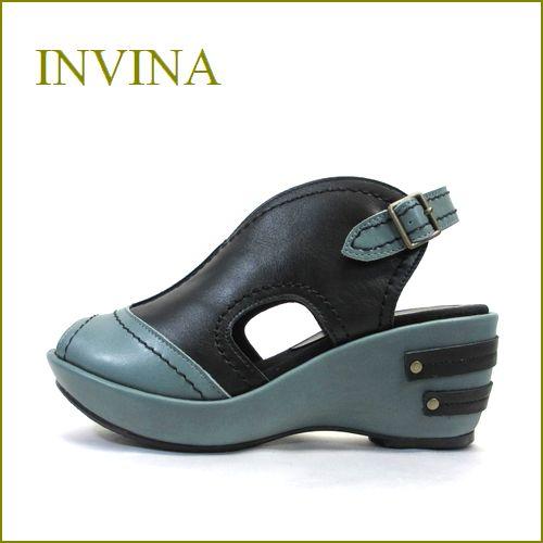 INVINA  インビナ iv4101bl ブルーグレイ ブラック 【かわいいボリュームの厚底ソール・・invina・柔らかレザーサンダル】