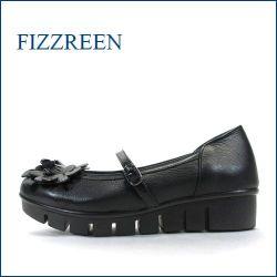 フィズリーン fizz reen fr1572bl ブラック 【曲がるソールと厚厚クッション・・足裏にとても優しい・・・fizz reen ・・かわいいお花ベルトパンプス】