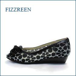 fizz reen フィズリーン fr7001bl  ブラック 【かわいい上品コサージュ・・新鮮なレース素材・・fizzreen・・2重クッション・ローヒール パンプス】