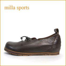 milla sports ミラ mi05dn ダークブラウン 【可愛いフラワーカット・・・楽らくワイズ 巾広4E・・Milla Sports ひもひもスリッポン】