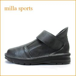 ミラ milla  mi7088bl ブラック 【軽い作りのラバーソール・・フィットするサイドゴア・・milla・・ベルト スリッポン】