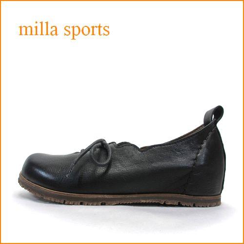 milla sports ミラ mi05bl ブラック 【可愛いフラワーカット・・・楽らくワイズ 巾広4E・・Miilla Sports ひもひもスリッポン】