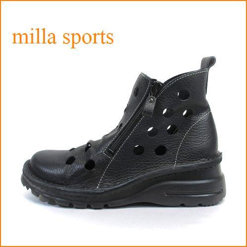 milla sports ミラスポーツ mi1032bl ブラック 【どんどん歩けるラバーソール・・おしゃれなジッパー・・popo larita・・穴穴アンクル】