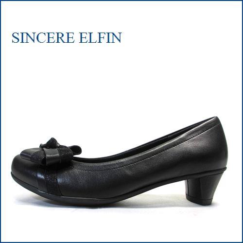 シンシアエルファン  sinsere elfin si2838bl ブラック 【きれいなシルエット・・かわいいリボン・・ sinsere elfin クッションの良いパンプス 】