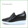 カリシモアルテ carissimo alte cs16991bl  ブラック 【可愛さ満点・・ラインストーン&お花レース・ carissimoalte インヒール・スリッポン】