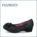fizz reen フィズリーン fr1154bl ブラック 【かわいい お花が咲いている・・ ぴったり FIT の・・FIZZREEN 柔らかレザーパンプス】