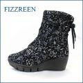 fizz reen フィズリーン fr1612bl ブラック 【きれいなお花が咲いている・・ときめき 新鮮素材・・fizz reen ・・後ろリボンブーツ】