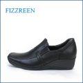fizz reen フィズリーン fr2408bl  ブラック 【つちふまずクッションで・・アーチがリラックス・・・FIZZREEN・・ウェッジソール・スリッポン】