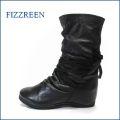 フィズリーン  fizzreen  fr3010bla ブラック 【すぽっと履けて楽らくフィット・・もっちり 柔らかソフトレザー・・ fizzreen 後ろリボン ブーツ】