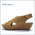 milla sports  ミラスポーツ  mi6361br  ブラウン 【シンプルがオシャレ・・マジックでフィット・milla sports・厚底サンダル】