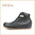 セシリア cecilia ce5506bl ブラック 【可愛い丸さのピーナッツトゥ・・ゴムゴムレースアップ・・cecilia・アンクル・ショートブーツ】