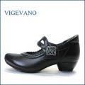 ビジェバノ vigevano  vg7026bl ブラック 【靴職人手作りの1足・・優しく包む感じ・・ vige vano ベルトパンプス】