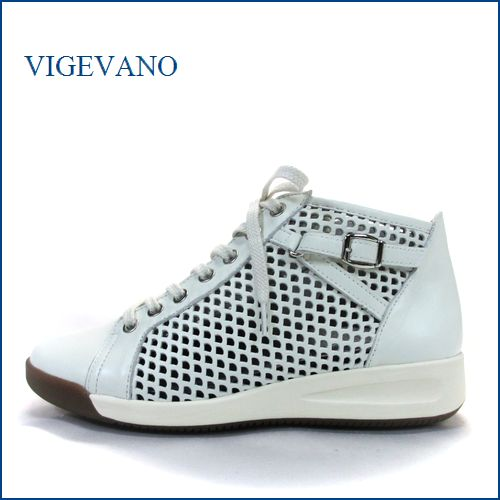 ビジェバノ vige vano vg6600iv  アイボリー 【柔らかレザーで楽らく・・サイドベルト&パンチングメッシュ。。vige vano すっきり上品スニーカー】