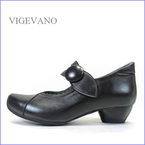 vigevano  ビジェバノ vg7002bl ブラック 【靴職人手作りの1足・・オシャレくるみボタン・ vigevano ベルトパンプス】