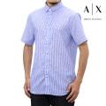 NEW!6/2入荷[アルマーニエクスチェンジ]ARMANI EXCHANGE 半袖シャツ(スカイブルー×ホワイト) AX-044