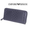 [エンポリオ・アルマーニ]EMPORIO ARMANI ラウンドファスナー長財布(小銭入れ付き)ダークブルー EA-166
