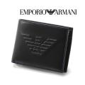 2018春夏モデル[エンポリオ・アルマーニ]EMPORIO ARMANI 二つ折り財布(小銭入れ付き)ブラック EA-192
