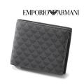 2018春夏モデル[エンポリオ・アルマーニ]EMPORIO ARMANI 二つ折り財布(小銭入れ付き)ブラック EA-195