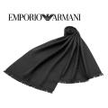 NEW!12/16再入荷[エンポリオ・アルマーニ]EMPORIO ARMANI ウールマフラー(ブラック×ブラック) EA-332