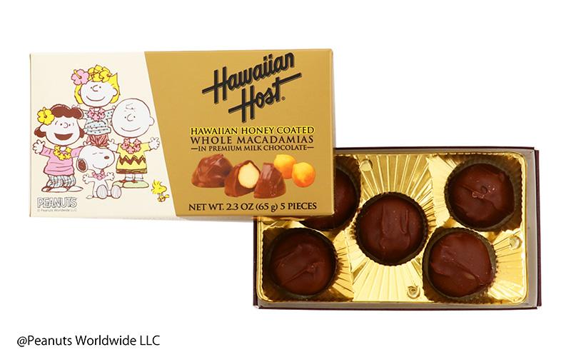 スヌーピーと仲間たちハワイアンハニーマカデミアナッツチョコレート(5粒)    hhca774ws