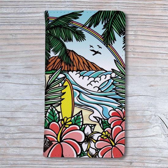 手帳型スマホケース 全機種対応(Waikiki Rainbow)SimpleVer.【メール便OK】