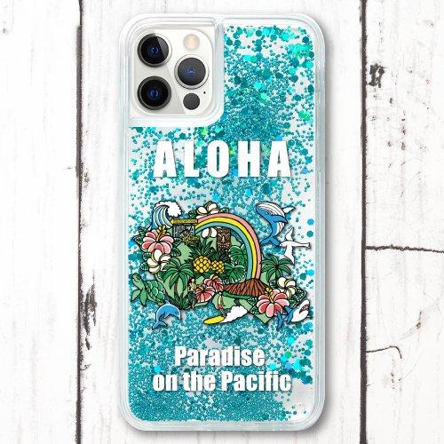 スマホケース グリッターケース iPhone 12シリーズ対応(Map of Oahu)【メール便OK】