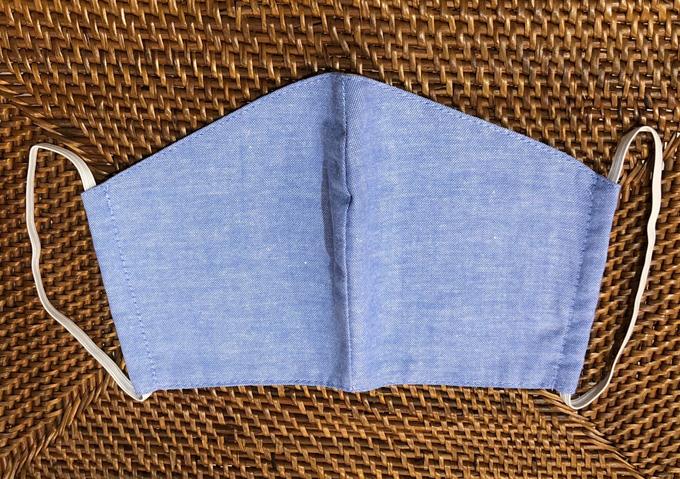 洗えるマスク!待望の布マスク インディゴガーゼマスク 3層構造  立体マスク型スカイブルー Sky Blue【メーカー正規販売店】【10枚までメール便配送可】