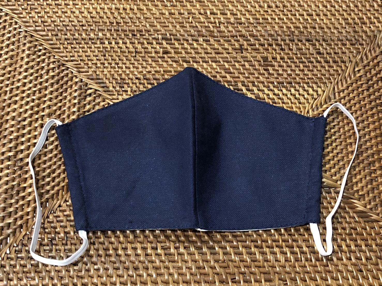 洗える リネン3層構造立体型マスク(ネイビー) 男女兼用( 大人用)【メーカー正規販売店】【10枚までメール便配送可】