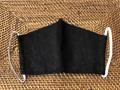 洗える リネン3層構造立体型マスク(ブラック) 男女兼用( 大人用)【メーカー正規販売店】【10枚までメール便配送可】