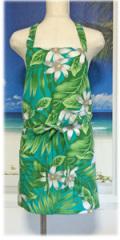 ハワイ直輸入!オリジナルエプロン ジーナ・プルメリアシャドウタ−コイズ